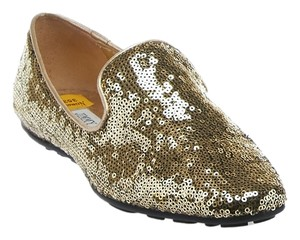 Jimmy Choo Sequined Slippers With Box Gold Flats