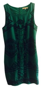 Francesca's short dress Emerald green with navy detail on Tradesy
