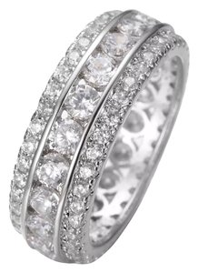 Other New White Saphhire & 10k White Gold Filled Wedding Band Ring Sz 7