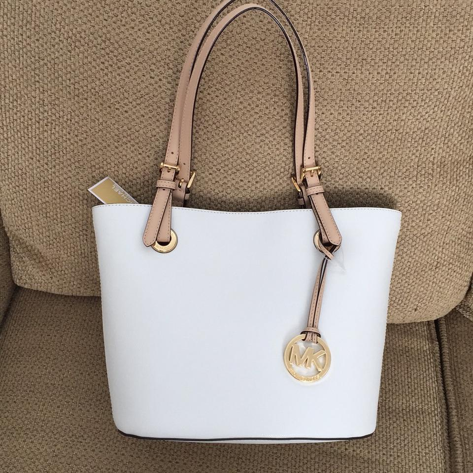 77e24b159e76ef Michael Kors Jet Set Item Medium 38h5yttt2l Optic White Leather Tote -  Tradesy