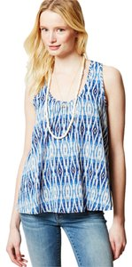Anthropologie Meadow Rue Tulip White Top Blue Motif