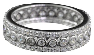 New White AAA CZ & 10k White Gold Filled Eternity Wedding Band Ring Sz 6