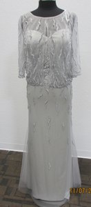 Mori Lee Silver Beaded Tulle 70925 Formal Bridesmaid/Mob Dress Size 12 (L)