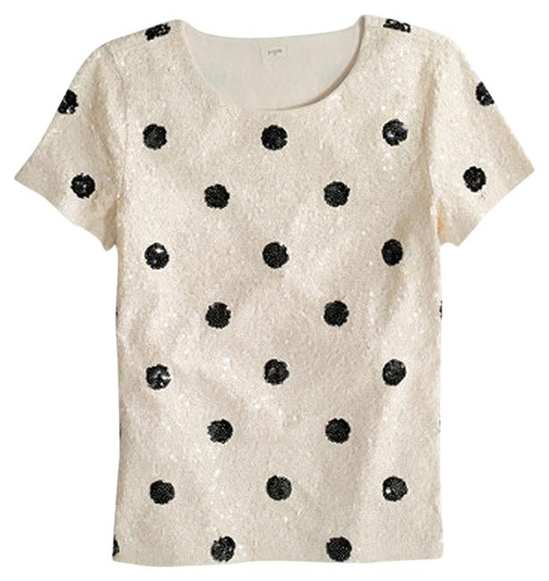 Item - Spotted Sequin Tee Black and Cream Top