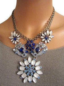 J.Crew Blue White Crystal Statement Chunky Necklace --Antique Gold Spectacular!