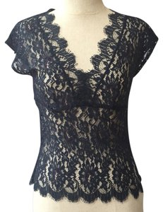 Only Hearts Lace Lace Trim V-neck Scalloped Empire Waist Top Navy blue