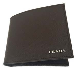 Prada PRADA Caffe Nero SAFFIANO BICOLO Leather Men's Bifold Wallet