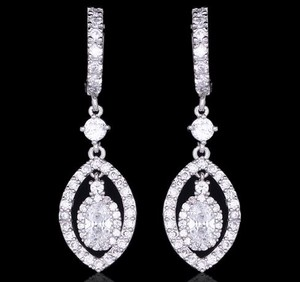 Stunning Bridal Oval Shape Drop Earrings Cubic Zirconia Hoop Earrings
