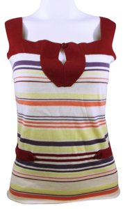 Barneys New York Knitted Red Yellow Coral Pink Purple White Spandex Stretch Top Multicolor