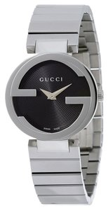 Gucci Black Circular Dial Silver tone Stainless Steel Designer Ladies Dress Watch
