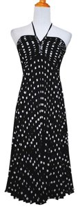Ann Taylor short dress Black white Polka Dot Pleated Silk Halter on Tradesy