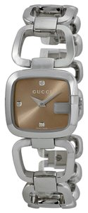 Gucci Brown Markets with Diamond Markers Silver Tone Stainless Steel Designer Dress watch