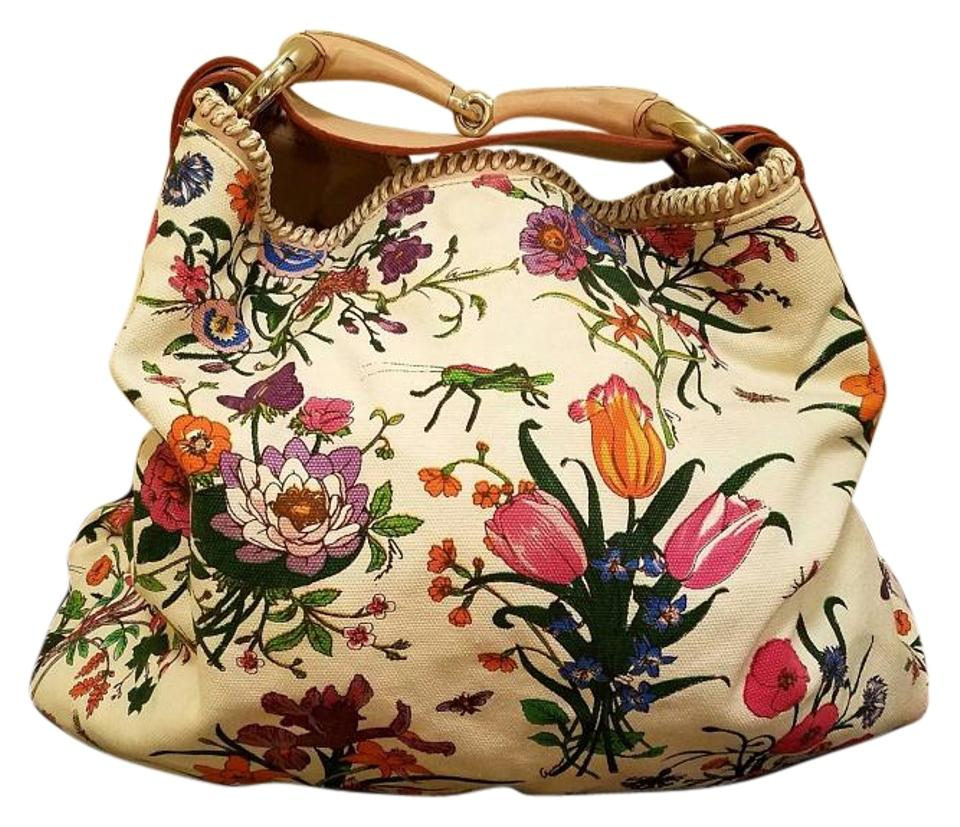 3687c82df521 Gucci Horsebit Flora Large White Multi-color Canvas and Leather Hobo ...