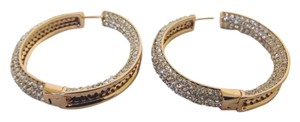 Joan Boyce Joan Boyce Large Pave Crystal Inside-Outside Hoop Earrings (Rosetone/Clear) New without Tags