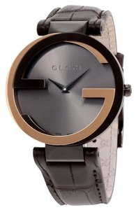 Gucci Black Dial Embossed Brown Leather Strap GG Two Tone Bezel Designer Dress Watch