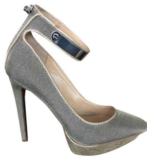 Jessica Simpson Silver Metal Mesh With Gold Platforms
