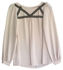 Ann Taylor LOFT Top Beige with Black Ribbon