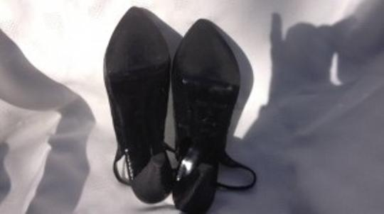 White House | Black Market Leather Slingback Pumps 7 Euc Leather Pumps Heels Sling-back Tall Snake Skin Clubbing Office Work High Heels 7 black Platforms