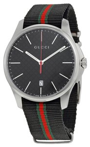 Gucci Black Dial with Tri Color Woven Fabric Bracelet Designer Casual Sport Watch