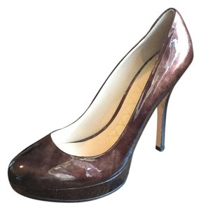 Joan & David Brown Marble Patent Leather Platforms