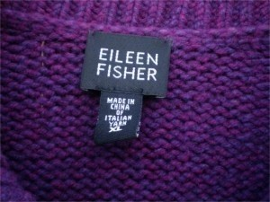 Eileen Fisher Italian Wool Cardigan Sweater Rn # 78121/Ca # 34460 Long Sleeved With Fold Up Cuffs 2 Buttoned Cardigan Heather Berry Purple Jacket