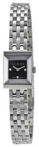 Gucci Square Black Dial with Diamond Markers Silver tone Stainless Steel Designer Dress Watch