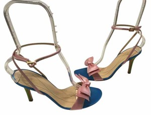 Kate Spade Leather Lining Soles Italian Multi color satin Sandals