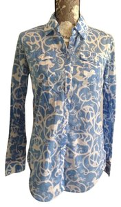 Lilly Pulitzer Resort 2 Button Down Shirt Sky blue monkey print