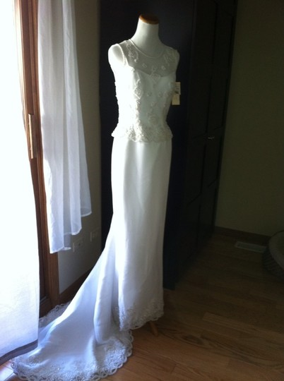 David's Bridal White Formal Wedding Dress Size 2 (XS)