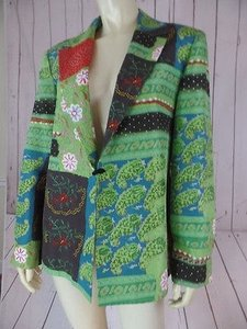 Harv Benard Harve Bernard Silk Collection Blazer Lined Lightweight Pockets Multicolor Hot