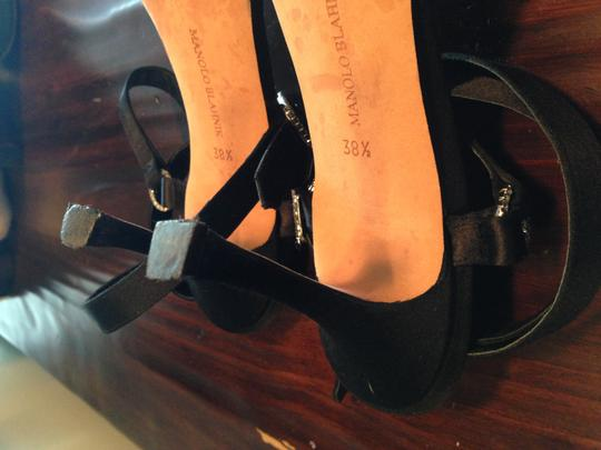 Manolo Blahnik Double Ankle Strap (wraps Around) Elegant Classy Heels Swarovski Crystal Hardware Satin Straps Black Formal