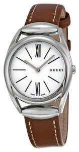 Gucci Brown Leather Strap White Dial Designer Classic Dress Watch
