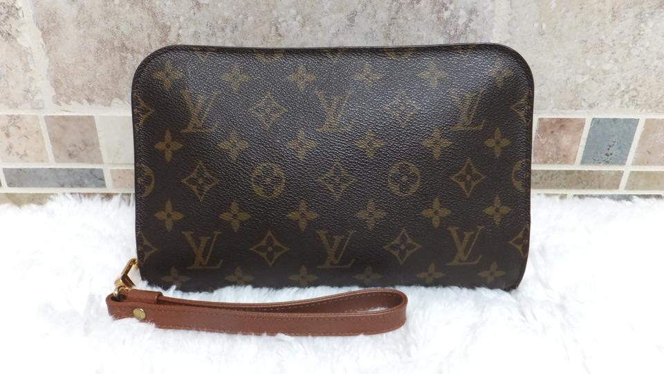 b1f00cd12e1f Louis Vuitton Monogram Vintage Mens Womens Vtg Wristlet Toiletry Business  Brown Clutch. 12345678