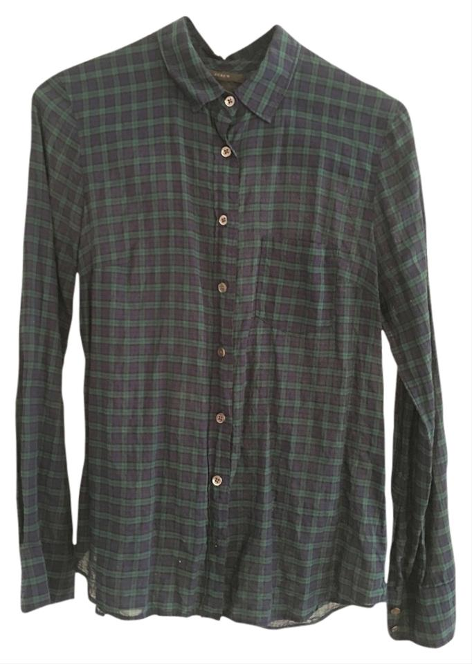 J Crew Green Blue Plaid Madewell Button Down Shirt On Tradesy