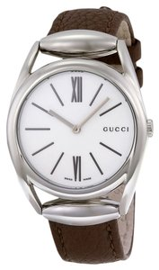 Gucci White Dial Brown Leather Strap Silver Stainless Steel Designer ladies Dress Watch