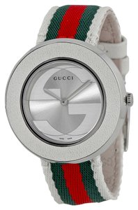 Gucci White Dial Twi Color Green and Red Canvas Strap Designer Ladies Sport Casual Watch