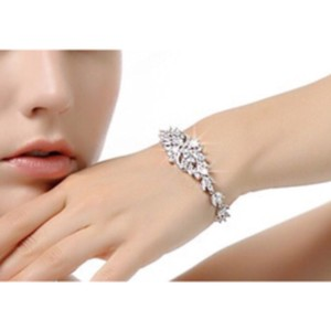 CasaDiBling White Gold Plated Marquis Bracelet