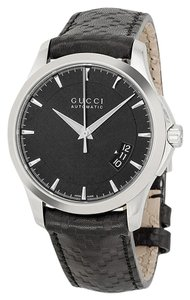 Gucci Black Dial Black Embossed Leather Strap Designer Classic Dress Watch