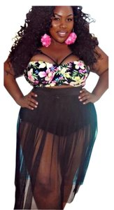 Other New Black Sexy Plus Size 2 PC Floral Top Skirt Bottom Bathing Suit Tag Sz XXXXL (Fit US 16-18)