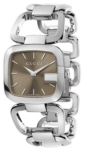 Gucci Brown Dial Silver tone Stainless Steel Bangle Bracelet Designer Ladies fashion Watch