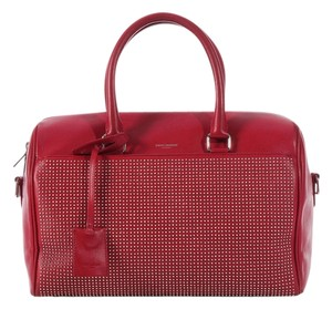 Saint Laurent Ys.k0318.06 Classic Duffel Silver Hardware Speedy Satchel in Red