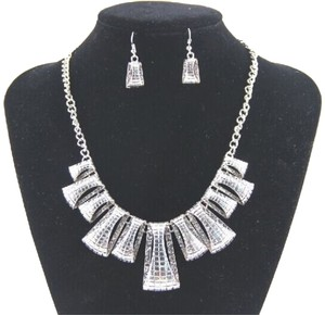 Women's Silver Chunky Statement Necklace Set