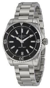 Gucci Black Dial Silver tone Stainless Steel Sport Designer ladies Watch