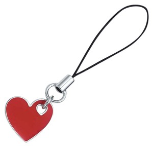 Tiffany & Co. Heart Cell phone charm with red enamel finish in sterling silver