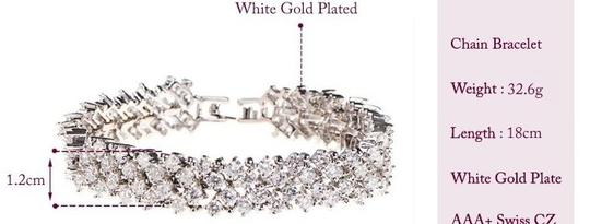 White Gold Plated 3 Row 2mm Round Shape Swiss Cubic Zirconia Diamond Chain Bracelet