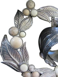Carol Dauplaise Exceptional Designer - Leafy Pewter Necklace and Bracelet Set with stones VERY UNUSUAL! Silver + Cream