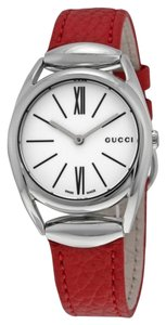 Gucci White Dial Red Leather Strap Designer ladies Dress Watch