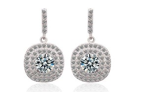 Stunning Platinum Plated Drop Bridal Wedding Earrings