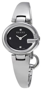 Gucci Black Dial Silver tone Stainless Steel Bangle Designer Ladies Watch