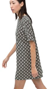 Zara short dress Printed Black + White Shift on Tradesy